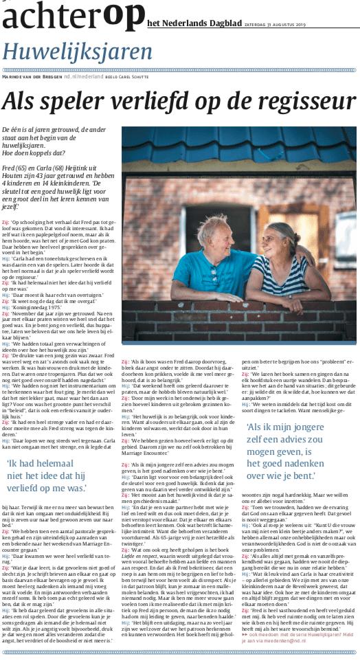 Huwelijksjaren Fred en Carla artikel in Nederlands Dagblad